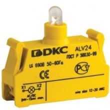Контактный блок с клеммным безвинтовым зажимом со светодиодом на 24В