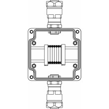 Коробка клеммная Ex из GRP; 1Ex e IIC T5 Gb IP66; Ex tb IIIB T95C Db; Клеммы 2.5мм2-6шт; А,С: ввод D8-13мм под небронированный кабель в металлорукаве DT20мм Ni-2шт