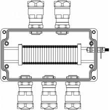 Коробка клеммная Ex из GRP; 1Ex e IIC T5 Gb IP66; Ex tb IIIB T95C Db; Клеммы 2.5мм2-25шт; А,С: ввод D8-13мм под небронированный кабель в металлорукаве DT20мм Ni-5шт